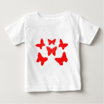 Red Butterfly Pattern Baby T-Shirt