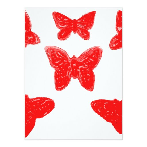 Red Butterfly Pattern Custom Invites