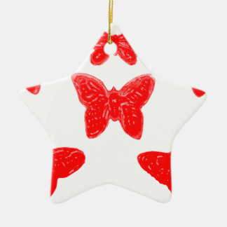 Red Butterfly Pattern Double-Sided Star Ceramic Christmas Ornament