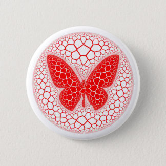 Red Butterfly Pinback Button