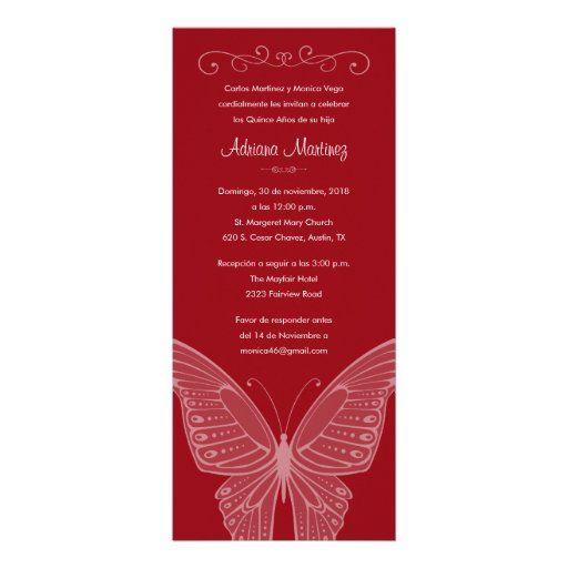 """Red Butterfly Quinceanera Invitations 4"""" X 9.25 ..."""