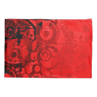 Red Butterfly Retro Grunge Print Pillow Case