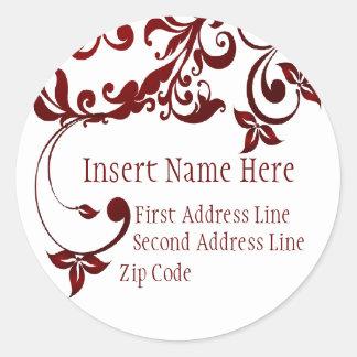 Red Butterfly Return Address Classic Round Sticker