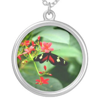 Red Butterfly Round Pendant Necklace
