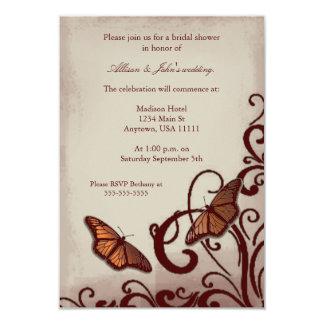 Red Butterfly Swirl Bridal Shower Invitation