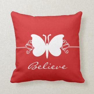 Red Butterfly Swirls Pillow