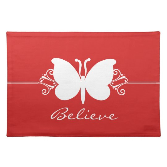 Red Butterfly Swirls Placemat