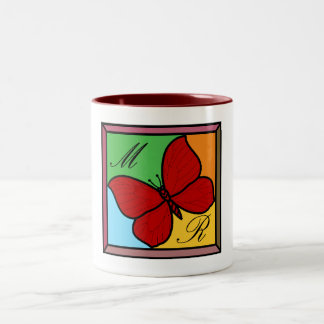 Red Butterfly- Two-Tone Mug