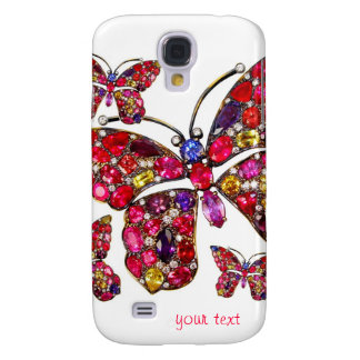 Red Butterfly Vintage Costume Jewelry Rhinestones Samsung Galaxy S4 Case
