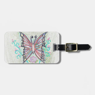 Red Butterfly Web Bag Tag