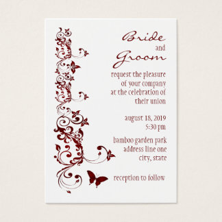 Red Butterfly Wedding Invitation