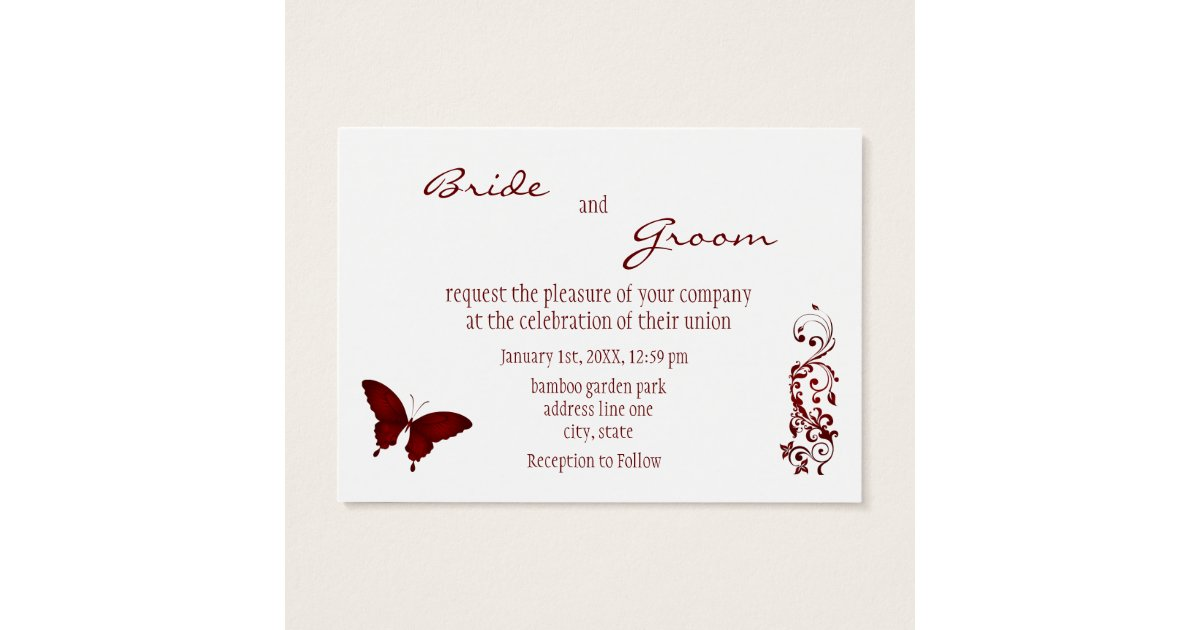 Red butterfly wedding invitation zazzle for Wedding invitations packs of 100