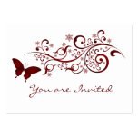Red Butterfly Wedding Invitation Large Business Cards (Pack Of 100)