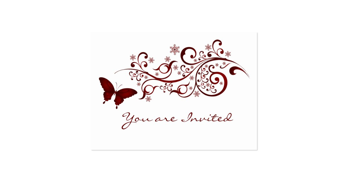 Red butterfly wedding invitation large business cards for Wedding invitations packs of 100