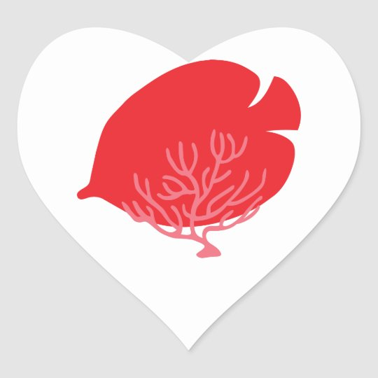 Red Butterflyfish and Coral Heart Sticker