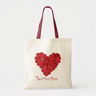 Red Button Heart Seamstress Sewing Yarn Bag