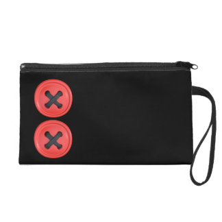 Red Buttons Black Satin Clutch Bag