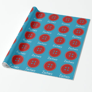 Red Buttons Everywhere Personalized Gift Wrap