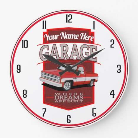 Red C10 Personalized Garage Large Clock
