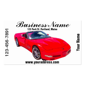 Red C5 Corvette convertible Muscle Car Business Card
