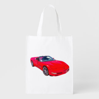 Red C5 Corvette convertible Muscle Car Reusable Grocery Bag