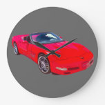 Red C5 Corvette convertible Muscle Car Wallclock