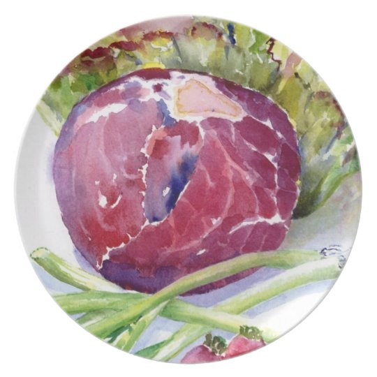 Red Cabbage in Watercolors Melamine Plate
