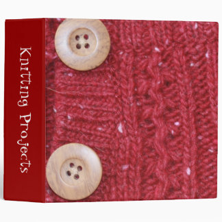 "Red Cable Knit and Two Buttons 2"" 3 Ring Binder"