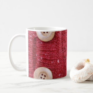 Red Cable Knit and Two Buttons Coffee Mug