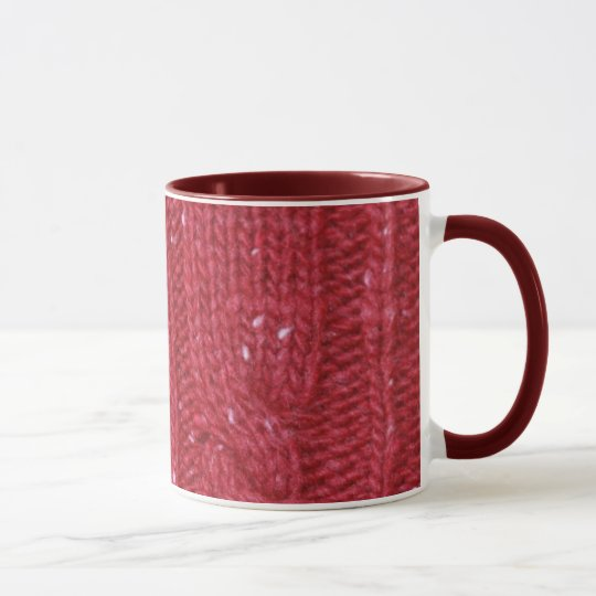 Red Cable Knit and Two Buttons Mug