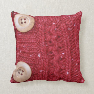 Red Cable Knit and Two Buttons Pillows