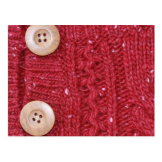 Red Cable Knit and Two Buttons Postcard