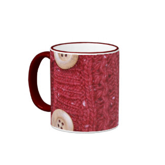 Red Cable Knit and Two Buttons Ringer Coffee Mug