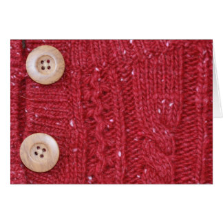 Red Cable Knit and Two Buttons Stationery Note Card