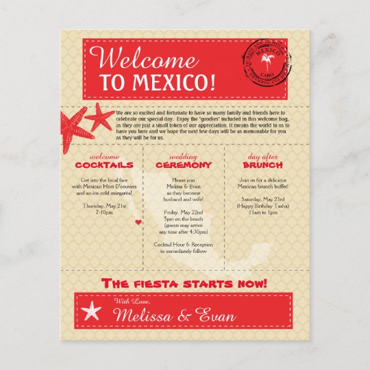 Red Cabo Mexico Wedding Welcome Letter