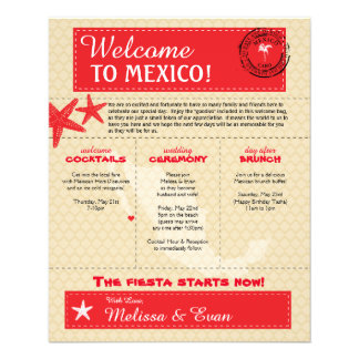 Red Cabo Mexico Wedding Welcome Letter Flyer