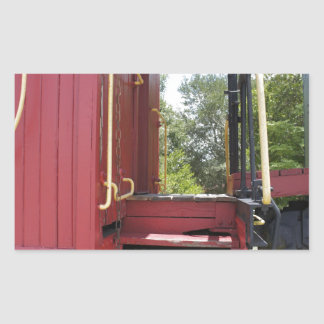 Red Caboose Rectangle Stickers