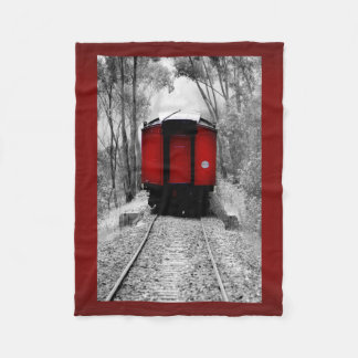 Red Caboose Victorian Steam Train Fleece Blanket