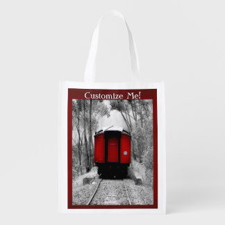 Red Caboose Victorian Steam Train Reusable Grocery Bag