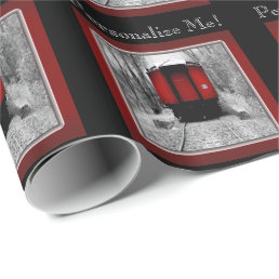 Red Caboose Victorian Steam Train Wrapping Paper
