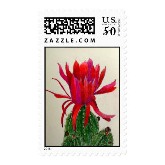 Red Cactus Flower Stamp