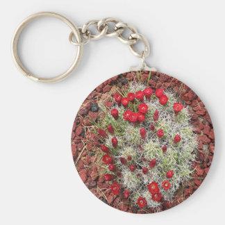 Red cactus flowers, Utah, USA Keychain