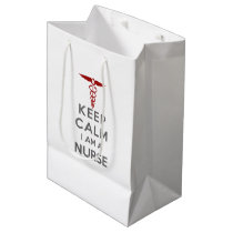 Red Caduceus Keep Calm I am a Nurse Medium Gift Bag