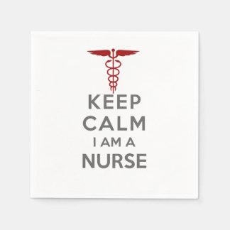 Red Caduceus Keep Calm I am a Nurse Paper Napkin