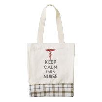 Red Caduceus Keep Calm I am a Nurse Zazzle HEART Tote Bag