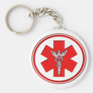 Red Caduceus Keychain
