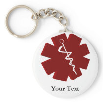 red caduceus medical gifts keychain