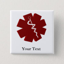 red caduceus medical gifts pinback button