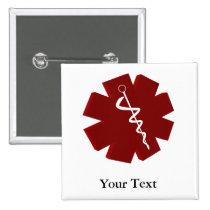 red caduceus medical gifts pinback button