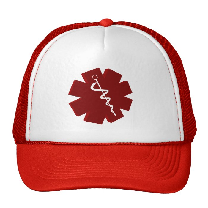 red caduceus medical gifts trucker hat